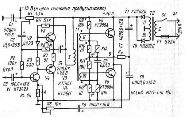 Схема усилителя на п210