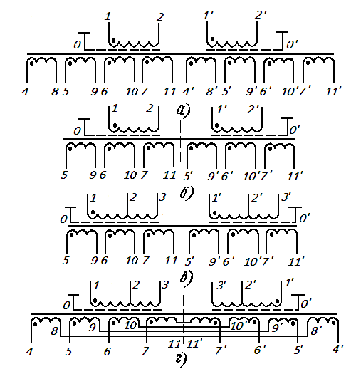 Схемы силовых трансформаторов