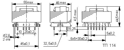 Габаритные размеры трансформатора ТП-114