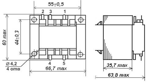 Габаритные размеры трансформаторов ТП-129