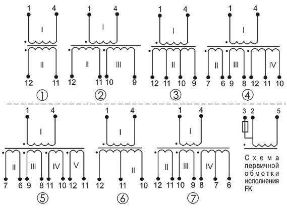 Электрические схемы трансформаторов ТП-124