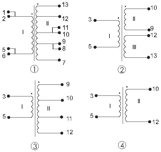 Электрические схемы трансформаторов ТП-127